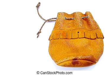 Leather pouch on a white background.