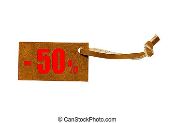 Leather price -50% isolated on white background with clipping path