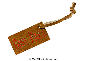 Leather price tag isolated on white background