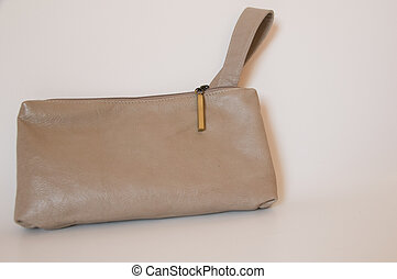 leather purse - stylish beige lady's handbag