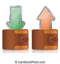 Income and Expenditure Concept - Leather Purse with Incoming...