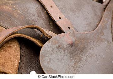 leather saddle close up shot