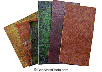 leather samples, choice of texture and color