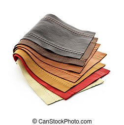 Leather samples - Leather upholstery samples with stitching...