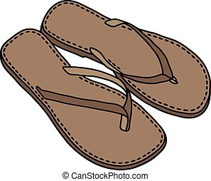 Leather sandals - Hand drawing of a leather low simple...