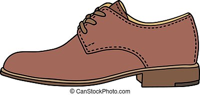 Hand drawing of a classic brown leather low shoe
