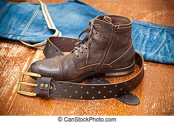 Leather shoes, leather belt, jeans