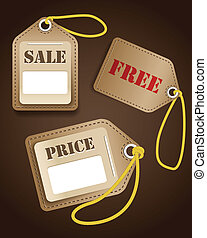 Leather shopping tags with rope