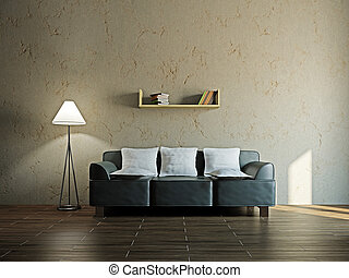 Leather sofa and  in the livingroom