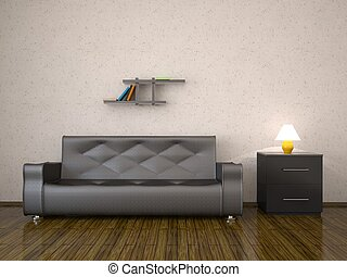 Leather sofa - Interior with a leather sofa