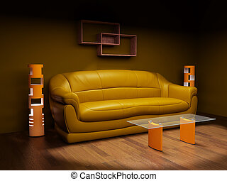 Leather sofa in a dark room