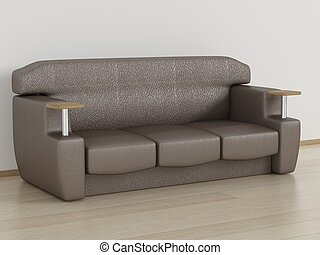 Leather sofa in a room. 3D image.