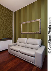 Leather sofa in classic living room - Leather sofa in a...