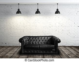 leather sofa in room - leather sofa in brick room and three...