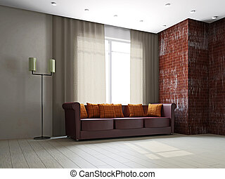 Leather sofa in the livingroom