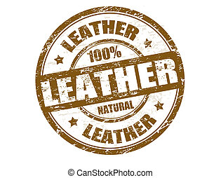 Leather stamp - Grunge rubber stamp with the word leather...