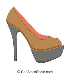Leather stiletto shoe with open front isolated illustration...