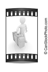 Leather suitcase for travel with 3d man. The film strip