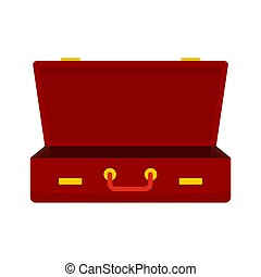 Leather suitcase icon, flat style