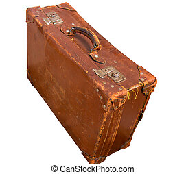 leather suitcase - old leather suitcase isolated on white