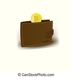 Leather wallet and golden bitcoin, BTC, coin - Typical...
