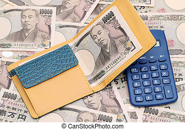 Leather wallet with ten thousand yen on japanese bill background