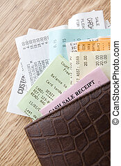 Leather Wallet Filled With Receipts - Brown Leather Wallet...