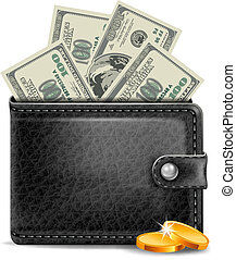 Leather wallet - Black leather wallet with money
