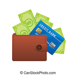 leather wallet with credit card and bills isolated over...
