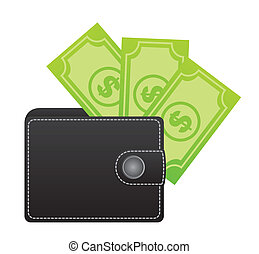 leather wallet with bills over white background. vector