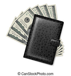 Leather wallet with dollars. Illustration on white