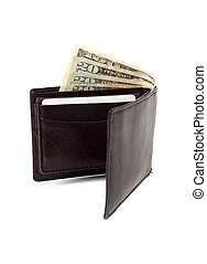 A brown leather wallet with money sticking out on a white background