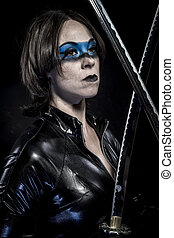 Leather, Woman with katana sword in latex costume