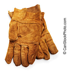 leather work gloves isolated on white background