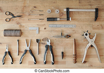 Leather work tool set - Above view of leather work tool set ...