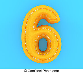 Leather yellow texture letter digit number six 6