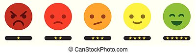Leave feedback. Satisfaction scale with color smileys buttons and stars.