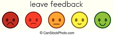 Leave feedback. Satisfaction scale with color smileys buttons.