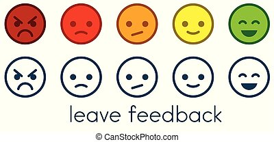 Leave feedback. Satisfaction scales with color smileys buttons.
