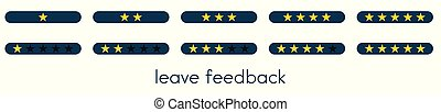 Leave feedback. Vote scale with blue buttons with gold stars.