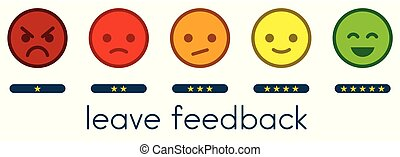 Leave feedback. Vote scale with color smileys buttons and stars.