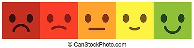 Leave feedback. Voting scale with colorful smileys buttons.