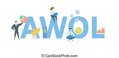 leave., odizolowany, keywords, płaski, pojęcie, ludzie, bez, awol, icons., nieobecny, wektor, illustration., white.