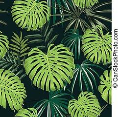 leave seamless pattern - Vector Illustration of leave...