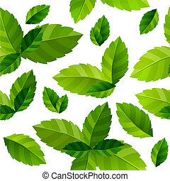 leaves, бесшовный, зеленый, задний план, свежий, мята