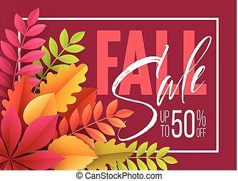 leaves., דוגמה, מכירה, סתו, וקטור, רקע, נפול