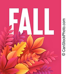 leaves., דוגמה, סתו, וקטור, רקע, נפול