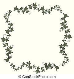 leaves., ツル, ツタ, ベクトル, 緑, frame.illustration, 花, 小枝, vine., 植物