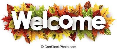 leaves., 歓迎, カラフルである, 旗