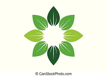 leaves abstract sun nature logo icon